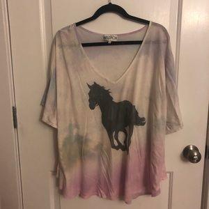Wildfox Rainbow Tie Dye Unicorn Top